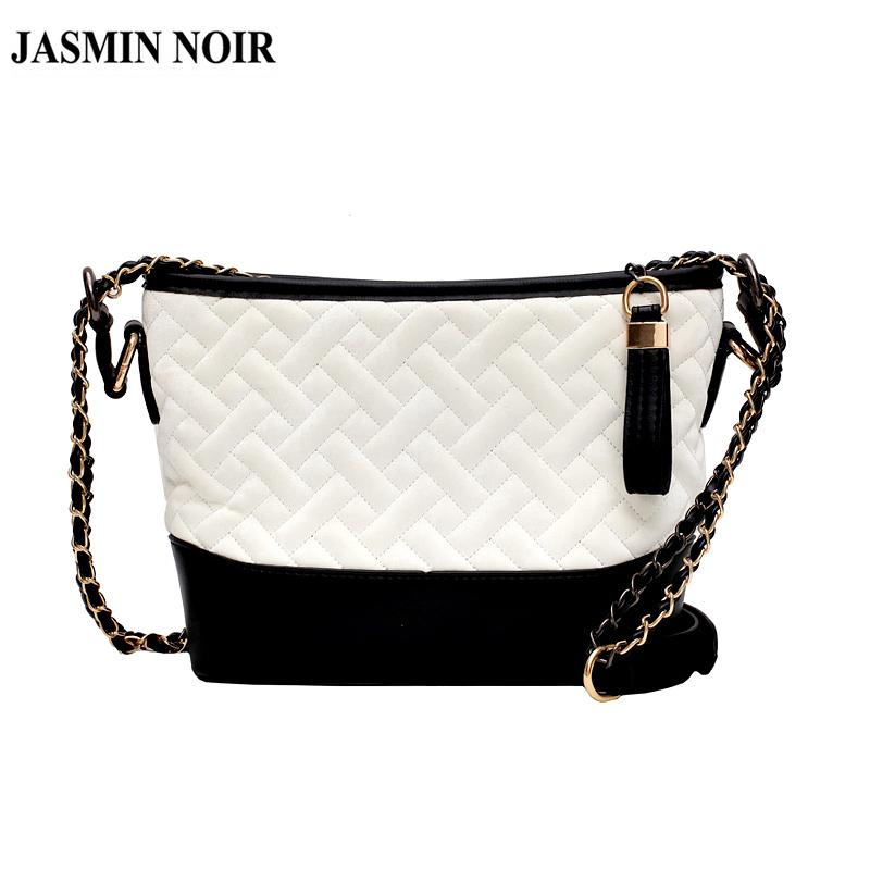 Túi đeo chéo Jasmin Noir họa tiết kẻ sọc phong cách Hàn Quốc thời trang cho nữ