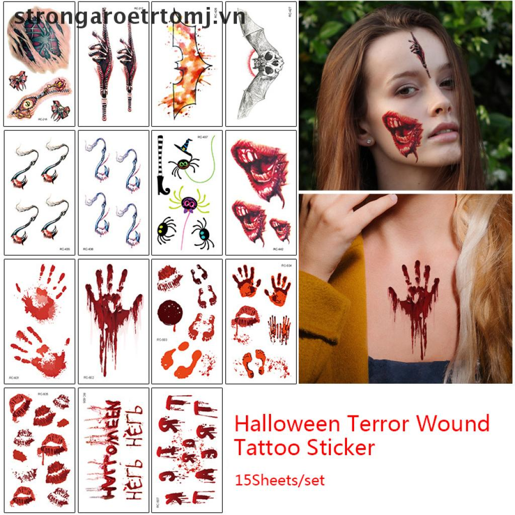 【strongaroetrtomj】 15sheets Halloween Tattoo Sticker Wound Scar Bruise Decoration Zombies Cosplay VN