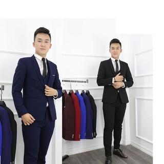 [sale off] Xả kho BỘ vest gồm áo vest + quần + sơ mi + tặng cavat. Có 2 màu đen và xanh than
