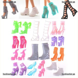 """[Iron] 12 Pairs/Set Dolls Fashion Shoes High Heel Shoes Boots for 11"""" Doll Gift [VN]"""
