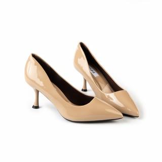 Giày cao gót trơn da bóng gót cách điệu 5p GE410 - Genni