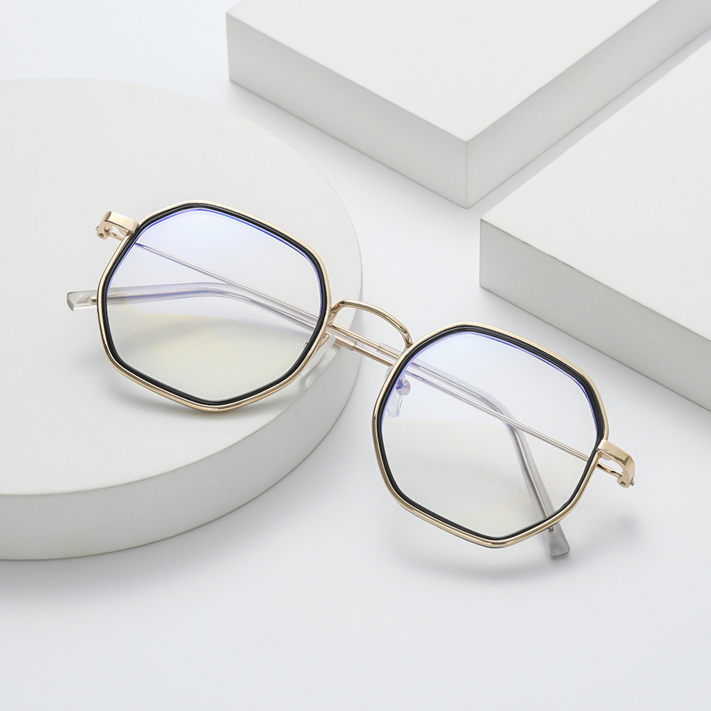 MIHAN1 Unisex Flat Mirror Eyewear Reduces Eye Strain Anti-UV Blue Rays Myopia Glasses Metal Round Frame Ultralight High-definition -1.0~-4.0 Eyeglasses