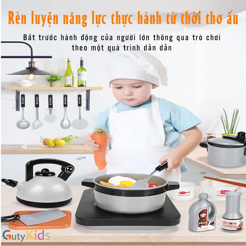 Bộ đồ chơi nấu ăn cho bé 36 món, Đồ chơi nấu ăn thiệt cho trẻ em chơi nấu cơm, nướng thịt, chiên cá - Kitchen toys kids