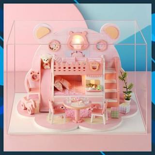 Mô hình nhà búp bê gỗ DIY Mô hình nhà búp bê lắp ghép có đèn Mẫu Bear WorkShop Toy World thumbnail