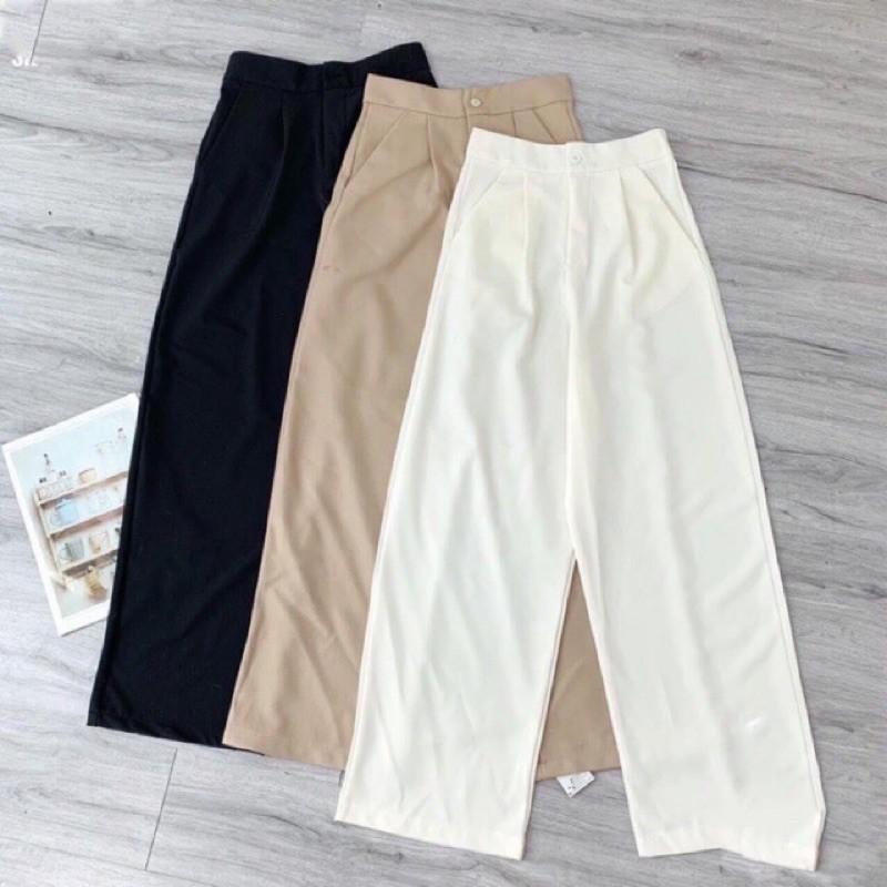 Mặc gì đẹp: Đẹp với Quần culottes ống rộng vải đũi xước cạp cao khóa thật dáng dài – Màu Đen Trắng và Kem– Quần nữ ống rộng công sở cạp cao