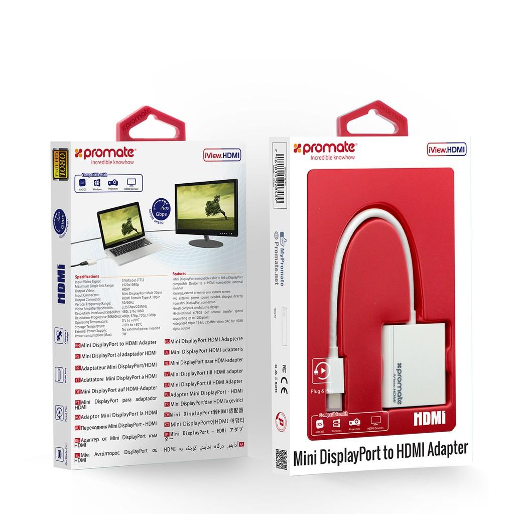 Cáp chuyển Promate iView.HDMI từ Mini Displayport sang cổng HDMI (Trắng)