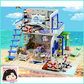 """Mô Hình Nhà Gỗ DIY """"Bờ biển màu xanh"""""""