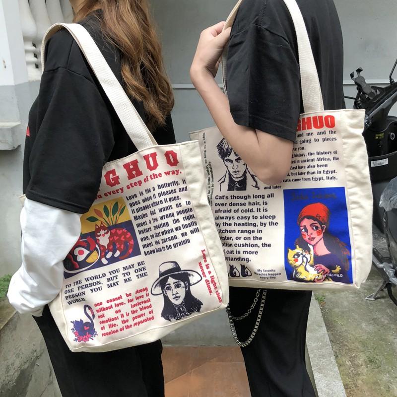 กระเป๋าแบรนด์ Tide ผู้ชายกระเป๋าผ้าใบหญิงเกาหลีกระเป๋าสะพายฮาราจูกุผู้ชายความจุขนาดใหญ่กระเป๋าช้อปปิ้งกระเป๋าซิปแบบพกพา