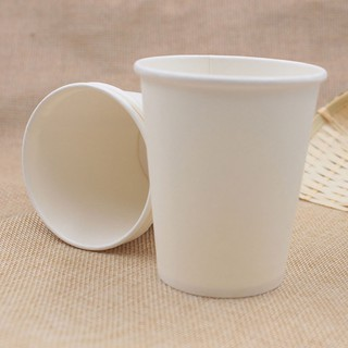 50 Ly Giấy Trắng Trơn 9oz 250ml Có Nắp Ly giấy uống nước Ly giấy size nhỏ Ly giấy cafe Cốc giấy thumbnail