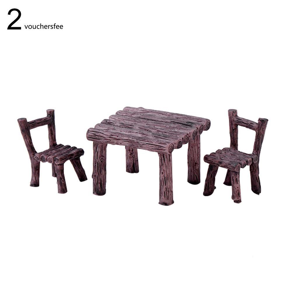 Set 3 món mô hình bàn ghế gỗ mini bằng nhựa dùng trang trí tiểu cảnh