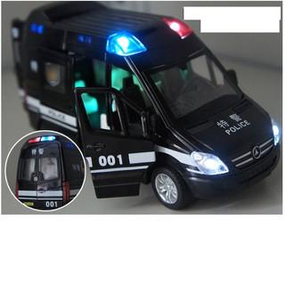 Xe mô hình ô tô cảnh sát bằng sắt có nhạc và âm thanh