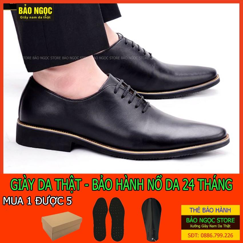 Giày tây nam cao cấp D8326 - Giày công sở da bò nhập khẩu nguyên tấm phong cách buộc dây lịch lãm - Bảo hành nổ da 2 năm