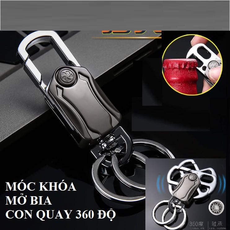 Móc khóa Inox cao cấp đa chức năng đeo chìa khóa mở bia và con quay giải trí xoay 360 độ