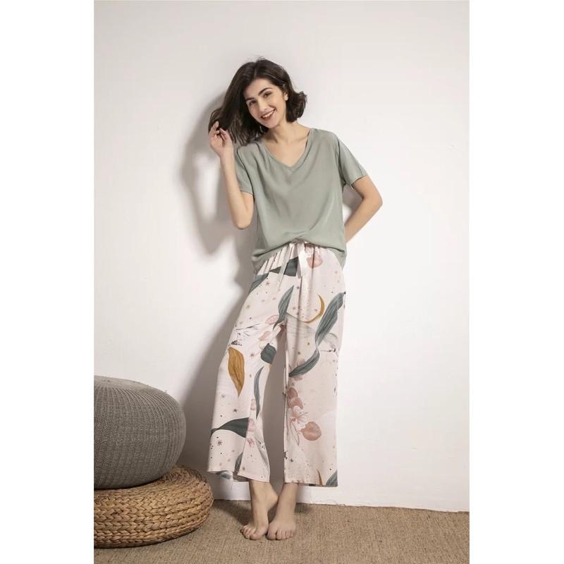 Bộ Pijama đồ mặc nhà quần dài, áo cộc tay lụa cotton mặc mùa hè cực mát 2021 CiCi
