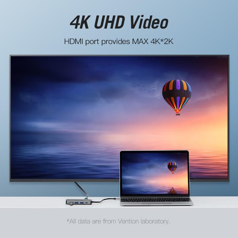 Vention Hub Chuyển Đổi Từ Type-C Sang 4k Hdmi Rj45 Vga Usb 3.0 Hub Cho Macbook Pro Huawei Mate 30 Usb-C 3.1