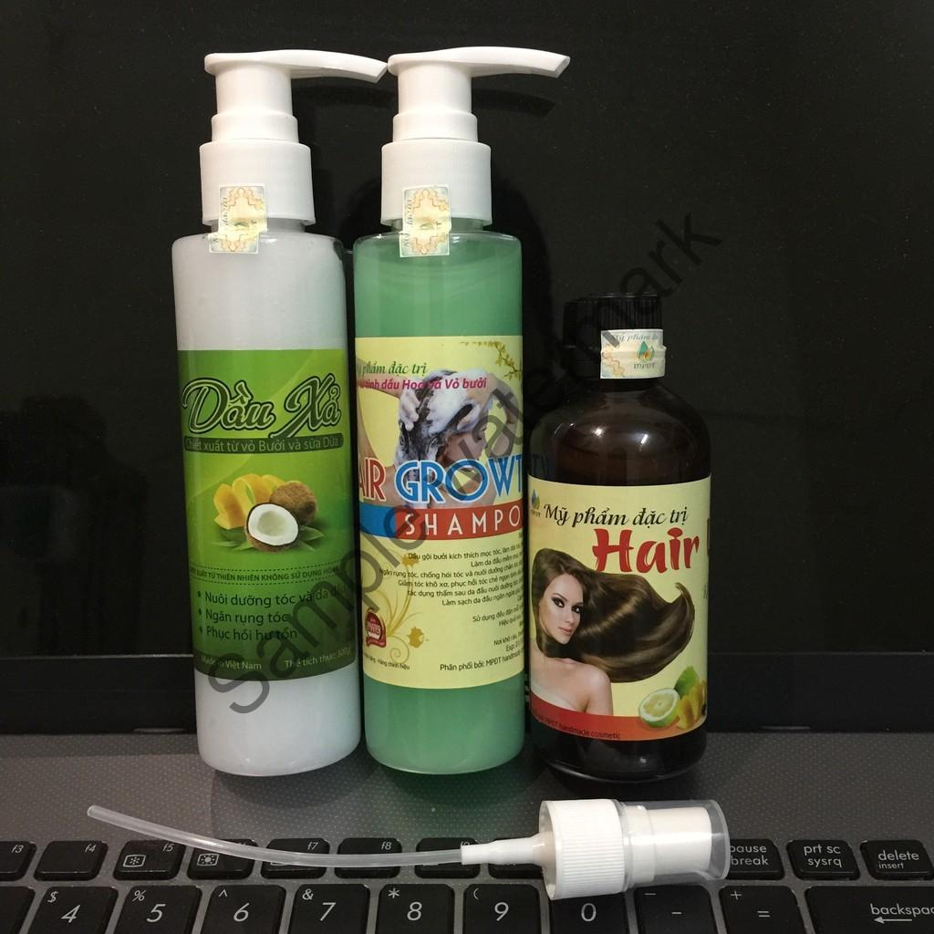 ( CHÍNH HÃNG ) Combo 3sp (1 Tinh dầu bưởi +1 Dầu gội bưởi +1 Dầu xả dừa) Kích mọc tóc dày, dài, trị rụng tóc,  m