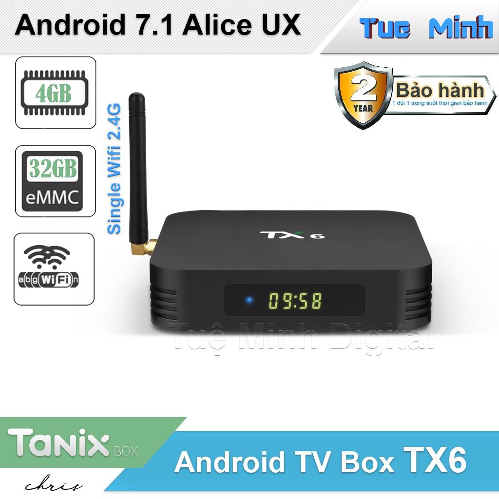 Android TV Box TX6 - Alice UX, Ram 4GB, Bộ nhớ trong 32GB, Single wifi