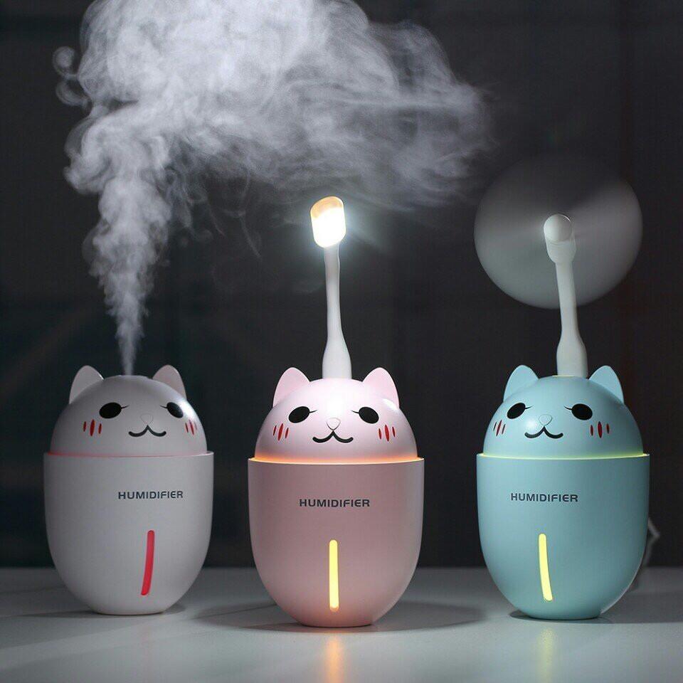 Máy phun sương tạo ẩm hình chú mèo dễ thương - Máy phun sương tạo ẩm 3 trong 1 kiêm quạt và đèn ngủ