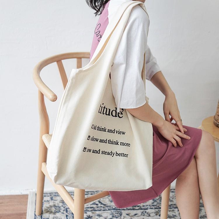 Túi Tote Vải Đeo Vai ❤️FREESHIP❤️ Giảm 5k khi nhập mã [ MICOCHI5k]  _Túi Attitude Style Hàn Quốc New 2020