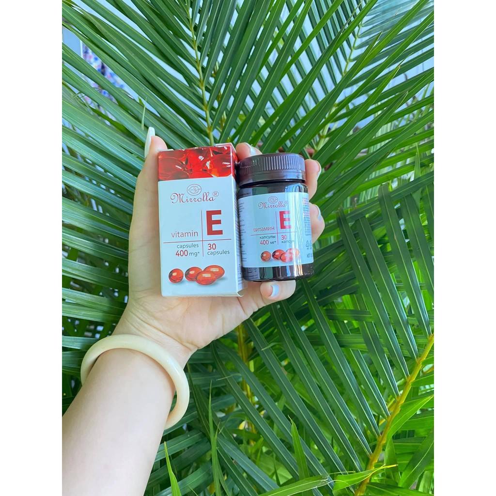 Vitamin E đỏ 400mg Mirrolla Nga lọ nhựa sẵn