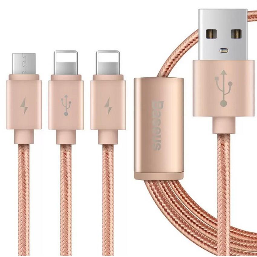 Cáp sạc lightning và Micro USB dây dù 3 in 1 Baseus (Hồng)