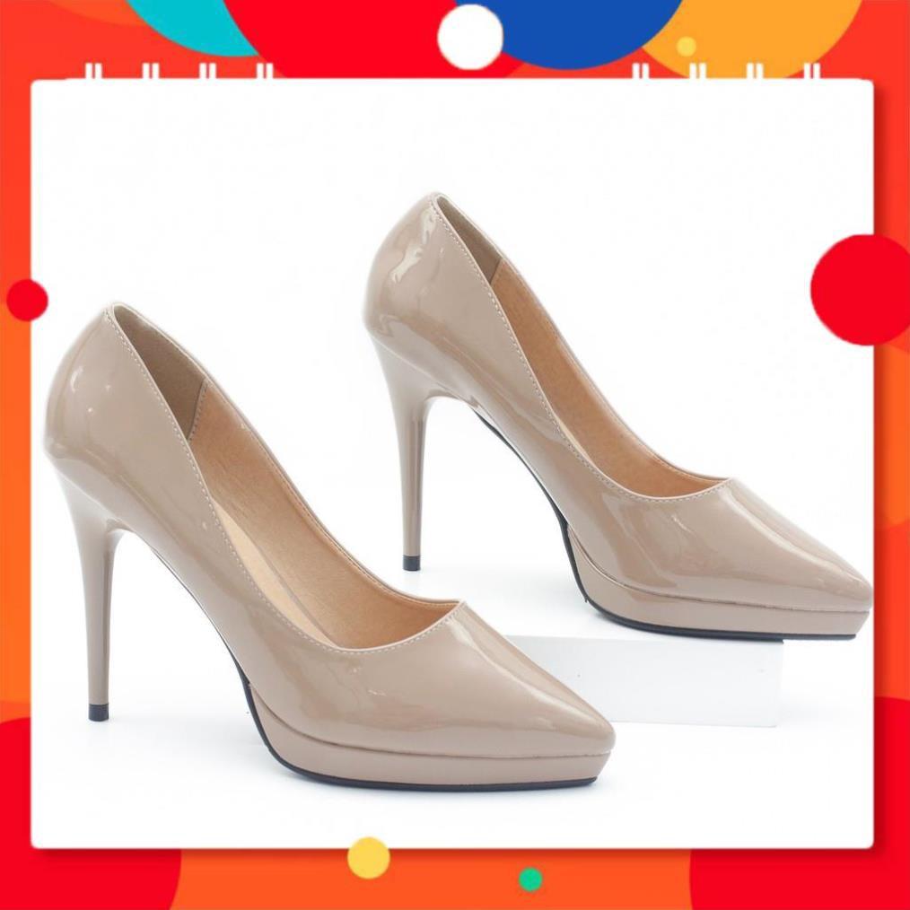 Giày Cao Gót 9cm Đế Đúp Da Bóng Mũi Nhọn Màu Nâu Sữa Pixie P672 -new112 v1