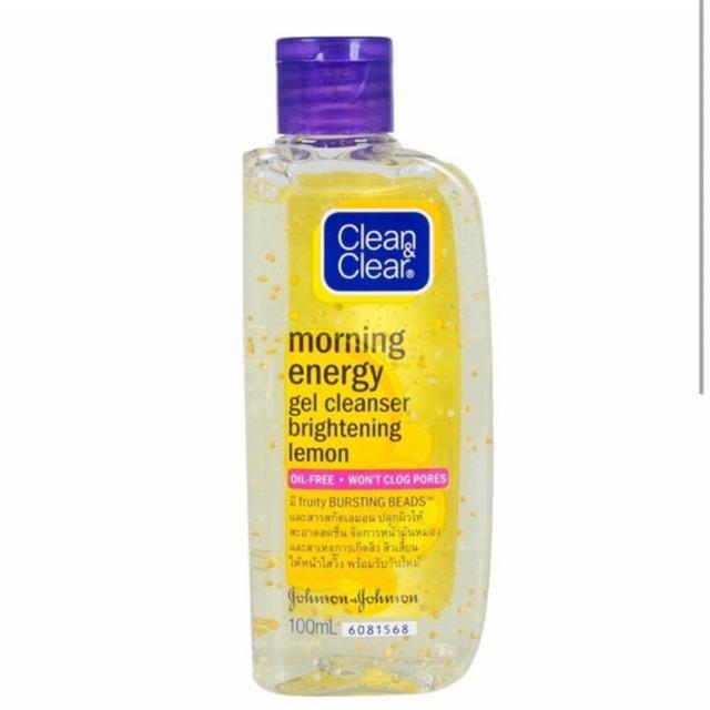 Sữa rửa mặt buổi sáng làm tỉnh giấc và sáng da Clean & Clear morning energy gel cleanser brightening lemon - 100ml