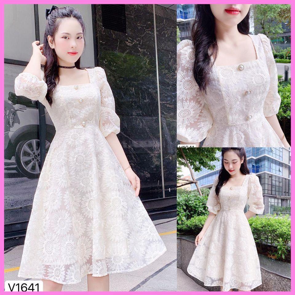 Đầm ren hoa cổ vuông tay lửng 3 nút cực xinh - Misa dress [ Váy trắng dự Tiệc