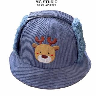 Nón tai bèo MG STUDIO chất liệu nhung thêu họa tiết chú hươu con kiểu hoạt hình ngộ nghĩnh