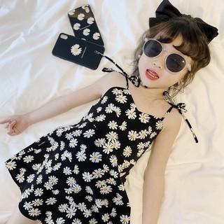 Đầm dây in họa tiết hoa xinh xắn cho bé gái