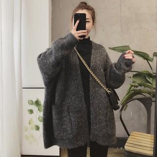 (HÀNG SẴN) Áo khoác cardigan len dày dặn không khuy cổ V form rộng dài vừa hai túi style retro Hàn Quốc sang trọng