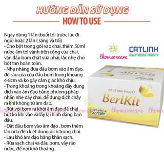 Bộ thụt rửa vệ sinh phụ nữ Berikit kèm 15 gói muối - dung dịch vệ sinh phụ khoa rửa sâu - của dược Cát Linh 7