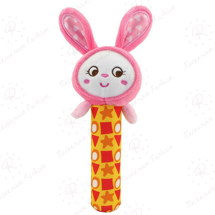 Baby Rattle Hand Grip Rod Toys Plush Animal Stick Kids Hand Bell Toy