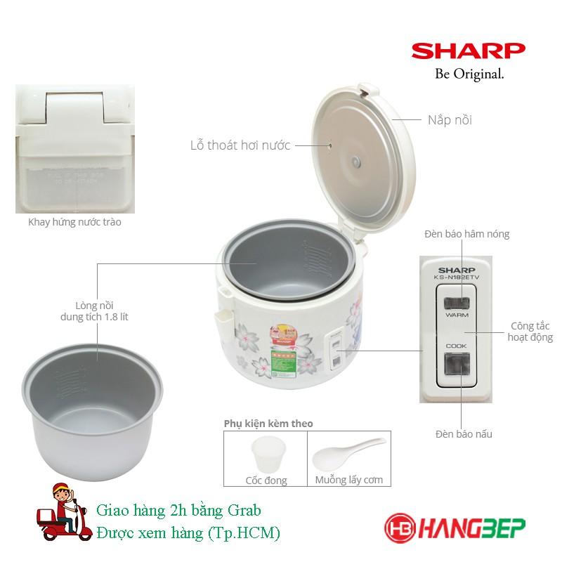 Nồi cơm điện Sharp 1.8 lít KS-N182ETV [THÁI LAN]