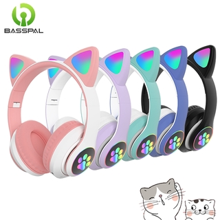 Basspal Bluetooth 5.0 Wireless Headphone with LED Cat Cute Paw Support TF Card