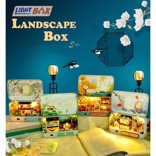 Nhà búp bê – LANDSCAPE BOX [HỘP mô hình có nội thất + Đèn LED + Giá đỡ]
