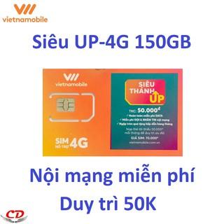[ELMT30K Giảm 30K] Siêu thánh sim UP- 4G VNMB miễn phí max 5GB data mỗi ngày-0 đ-CK