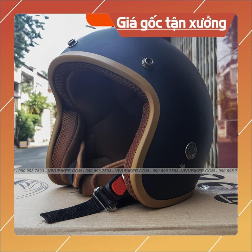 [Giống ảnh] Mũ bảo hiểm 3/4 đen lót đen siêu ngầu - Mũ 3/4 màu đen nhám lót đen chính hãng bảo hành 12 tháng