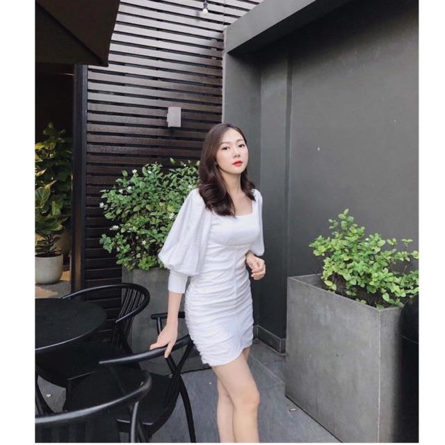 Đầm Linen Trắng gân cổ vuông ôm body