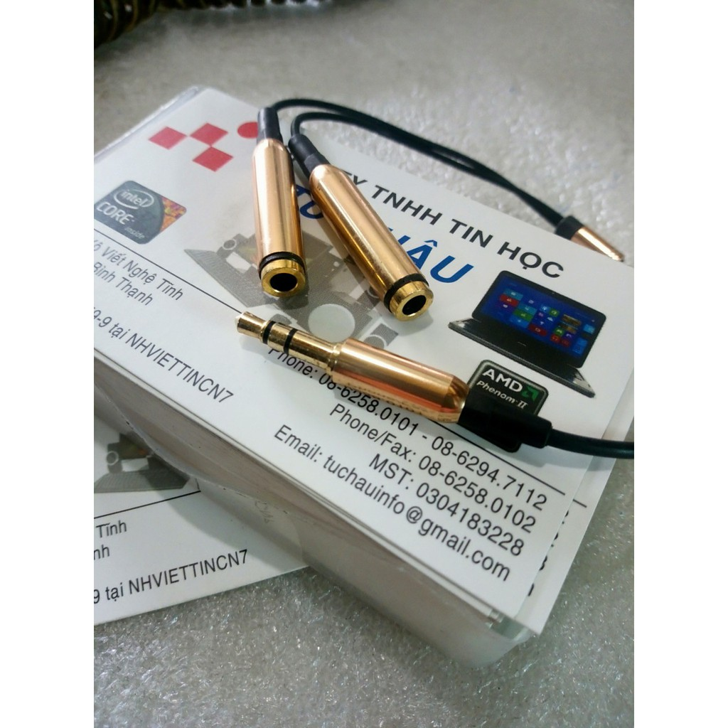 Dây chia loa 3.5mm_3 điểm cực_ra_2 lổ_Cái_3.5mm_3điểm cực Giá chỉ 48.000₫