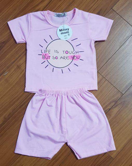 [CAO CẤP] [HÀNG LOẠI 1] Bộ MINKY MOM Cộc Tay Cotton 4 chiều in Hình siêu yêu cho bé trái/gái