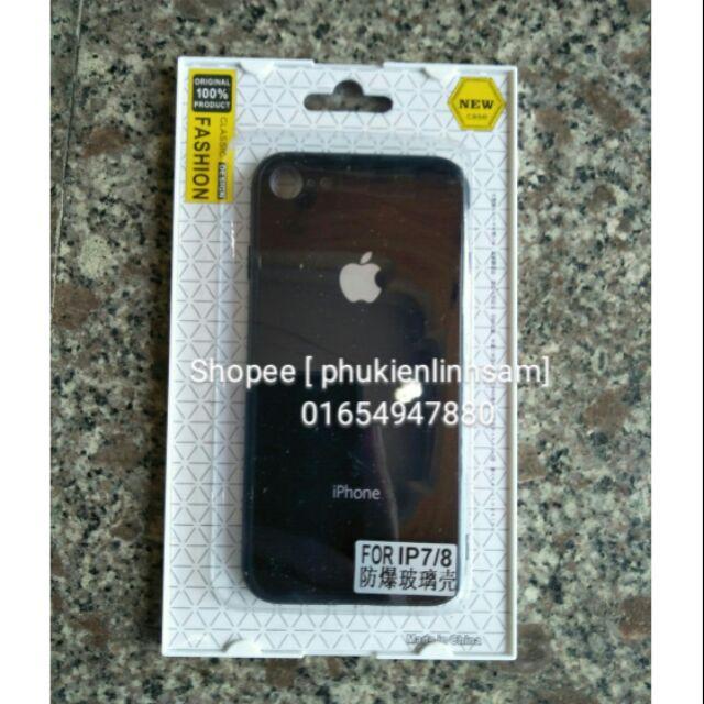 Ốp lưng kính cho IPhone 7/ IPhone 8 Fashion - Đen