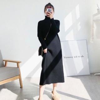 """Đầm suông dài tay cổ lọ len tăm 1 màu hottrend giá chỉ còn <strong class=""""price"""">8.400.000.000đ</strong>"""