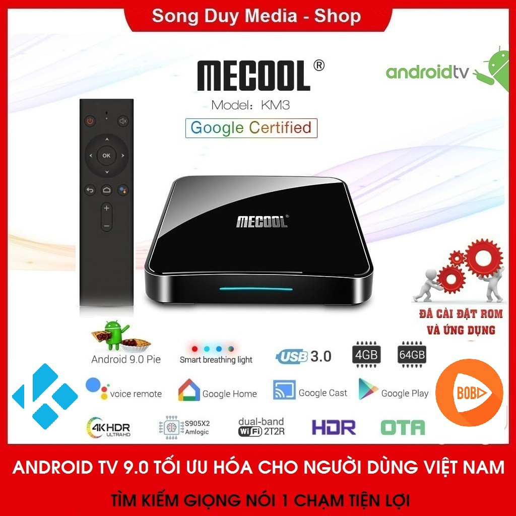 Android TV Box Mecool KM3 | CPU S905X2 | Ram 4GB | Bộ Nhớ Trong 64GB