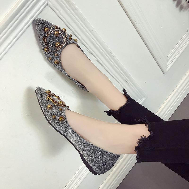 Giày Búp Bê Đế Bằng Đính Kim Sa Thời Trang Hàn Quốc Cho Nữ