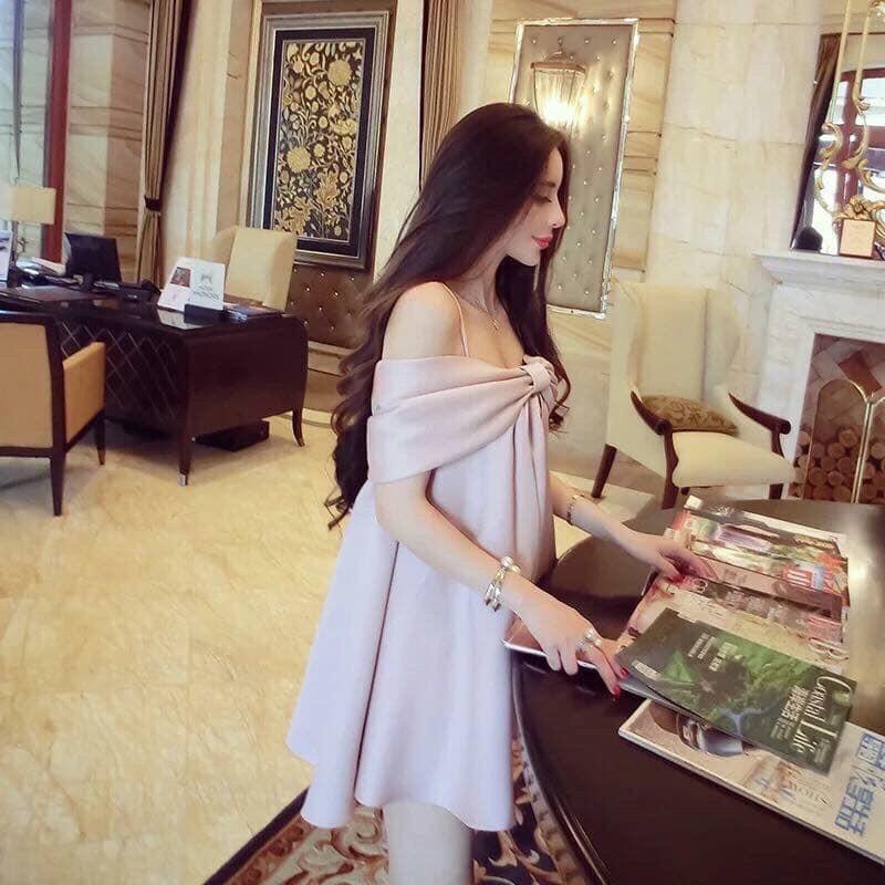 Mặc gì đẹp: Dễ chịu với Đầm bầu chất lụa Mango hàn quốc – Váy bầu nơ hồng mượt mà dày dặn cao cấp, đẹp sang chảnh W132