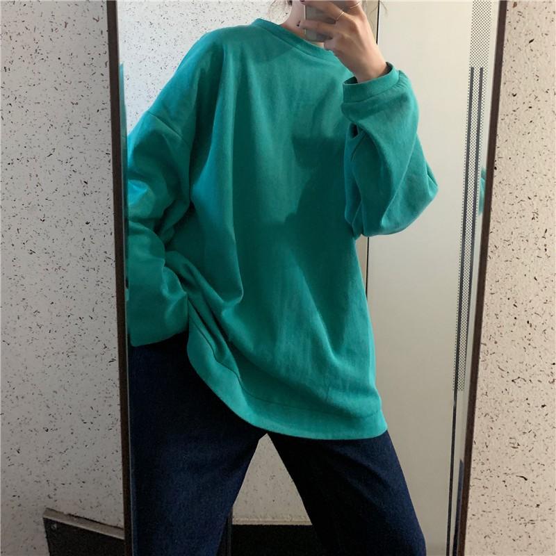 ฤดูใบไม้ร่วงเวอร์ชั่นเกาหลีใหม่ของส่วนยาวของคอก ลมเสื้อยืดหญิง