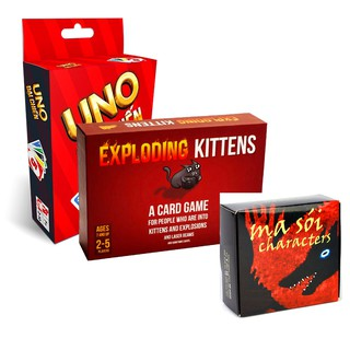 combo Uno Ma sói characters Exploding Kittens