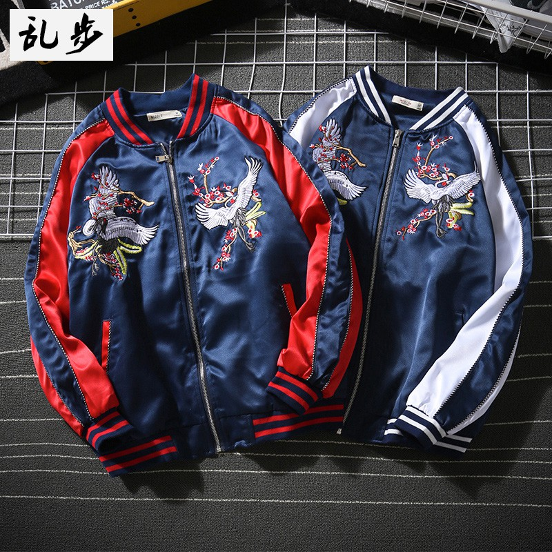 Embroidery bomber jacket autumn-winter style dragon motifs