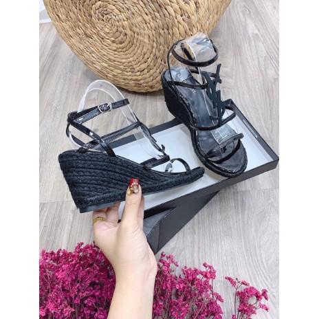 Sandal xuồng ysl cói 7cm tag đen cói cao cấp Full box ( Đen )